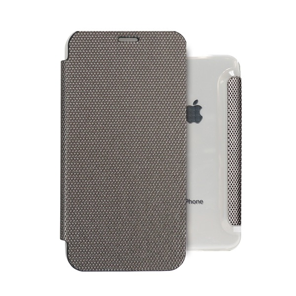 ZENUS iPhone XR 背面クリア手帳型ケース Metallic シルバー