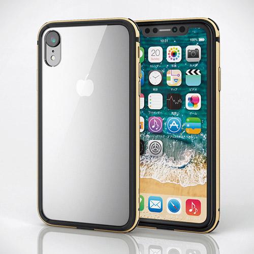 エレコム iPhone XR ハイブリッドケース アルミバンパー ゴールド