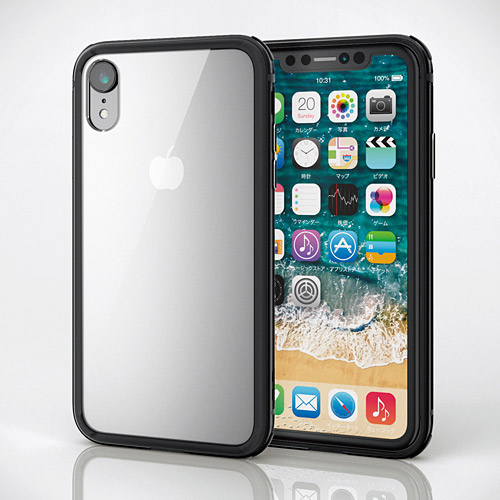 エレコム iPhone XR ハイブリッドケース アルミバンパー ブラック