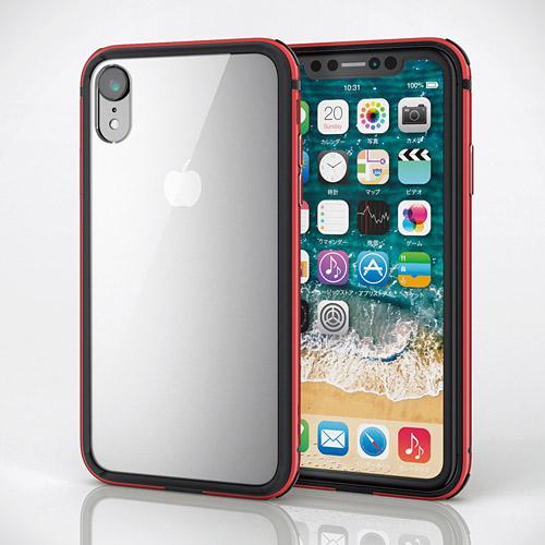 エレコム iPhone XR ハイブリッドケース アルミバンパー レッド