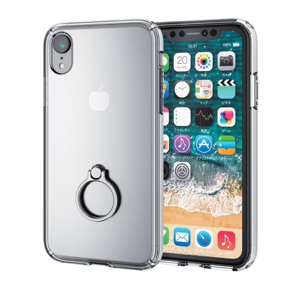 エレコム iPhone XR ハイブリッドケース リング付 シルバー