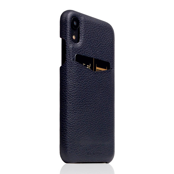 SLG Design iPhone XR D8 Full Grain Leather Back Case Black Blue