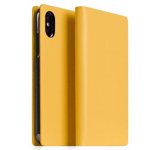 SLG Design iPhone XS Max Calf Skin Leather Diary イエロー