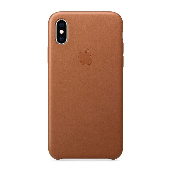Apple iPhone XS レザーケース - サドルブラウン