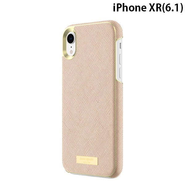 kate spade iPhone XR NEW YORK Wrap Case Saffiano Rose Gold/Gold Logo Plate