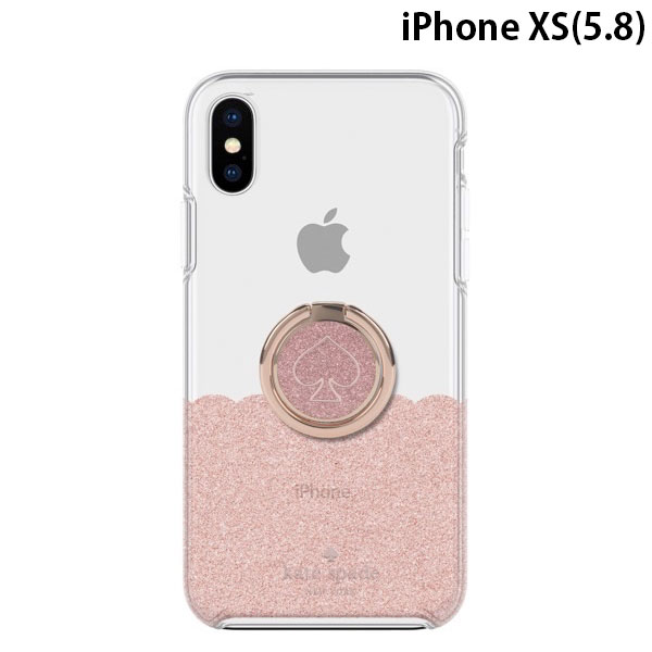 kate spade iPhone XS NEW YORK Gift Set Ring Stand (Spade Rose Gold Glitter Enamel) & Protective Hardshell Case (1-PC Comold) Scallop Rose Gold Glitter/Clear
