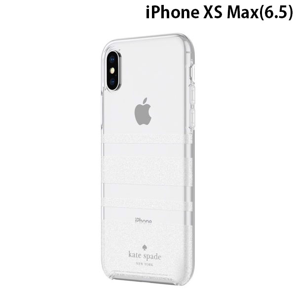 kate spade iPhone XS Max NEW YORK Protective Hardshell Case (1-PC Comold) Charlotte Stripe White Glitter/Clear
