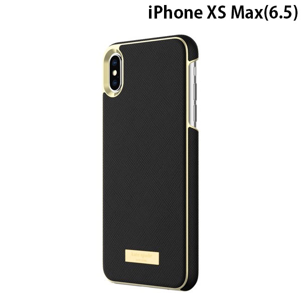 kate spade NEW YORK iPhone XS Max Wrap Case Saffiano Black/Gold Logo Plate