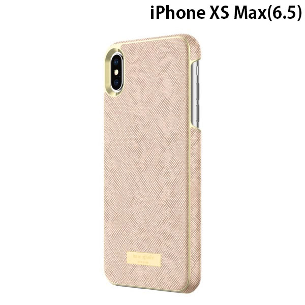 kate spade NEW YORK iPhone XS Max Wrap Case Saffiano Rose Gold/Gold Logo Plate