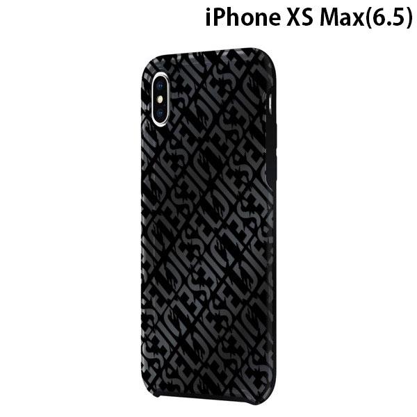 Diesel iPhone XS Max Printed Co-Mold Case - Distressed Logo Pattern Black / Back Foil / Black Bumper