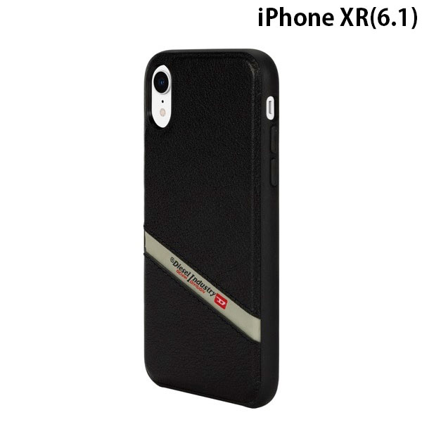 Diesel iPhone XR Leather Co-Mold Case Black Leather Diagonal Logo