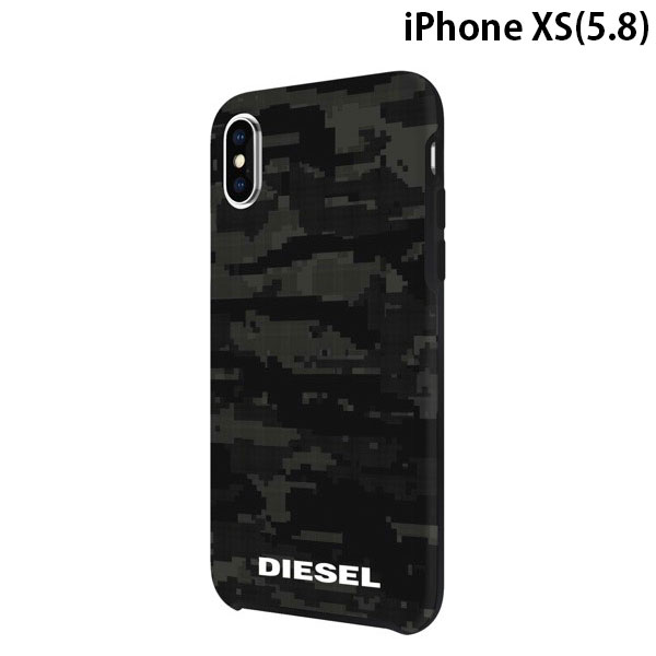 Diesel iPhone XS Printed Co-Mold Case Soft Touch Pixelated Camo Black / Grey
