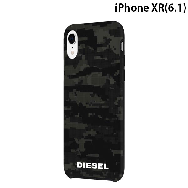 Diesel iPhone XR Printed Co-Mold Case Soft Touch Pixelated Camo Black / Grey