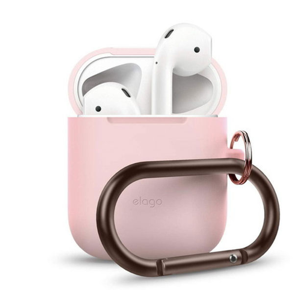 elago AirPods HANG CASE シリコンケース カラビナ付 (Lovely Pink)