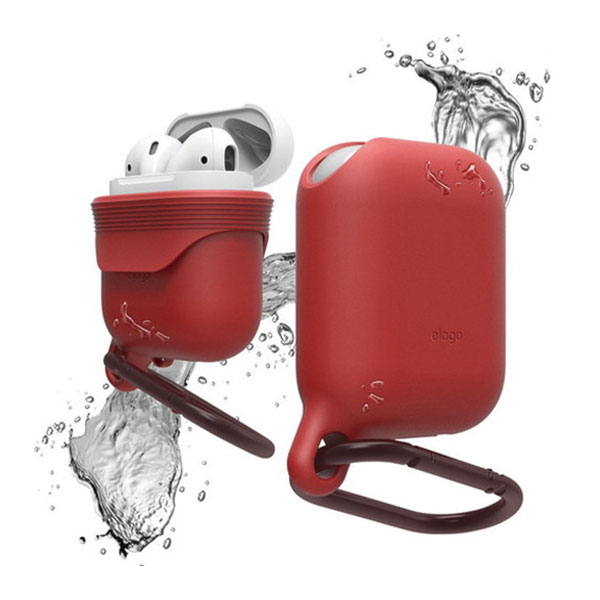 elago AirPods WaterProof Hang Case 防滴 シリコンケース カラビナ付 (Red)