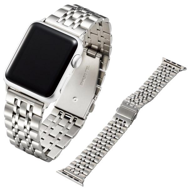 エレコム Apple Watch 38mm / 40mm Seven-Strand Style ラグジュアリーステンレスバンド シルバー