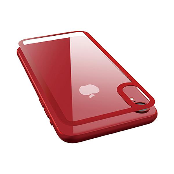 エレコム iPhone XR 背面フルカバー 指紋防止 ガラスフィルム カラーフレーム レッド