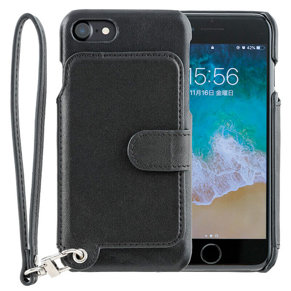 RAKUNI iPhone 8 / 7 Leather Case Pure Black