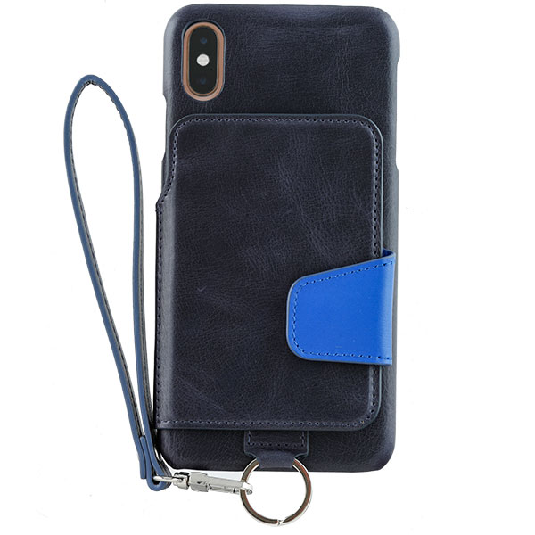 RAKUNI iPhone XS Max Leather Case Navy Blue