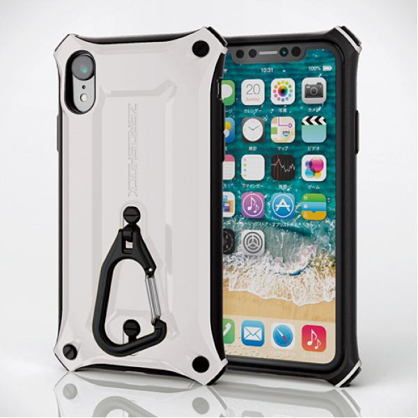 エレコム iPhone XR ZEROSHOCK 2wayカラビナ 衝撃吸収 液晶保護フィルム付 ホワイト
