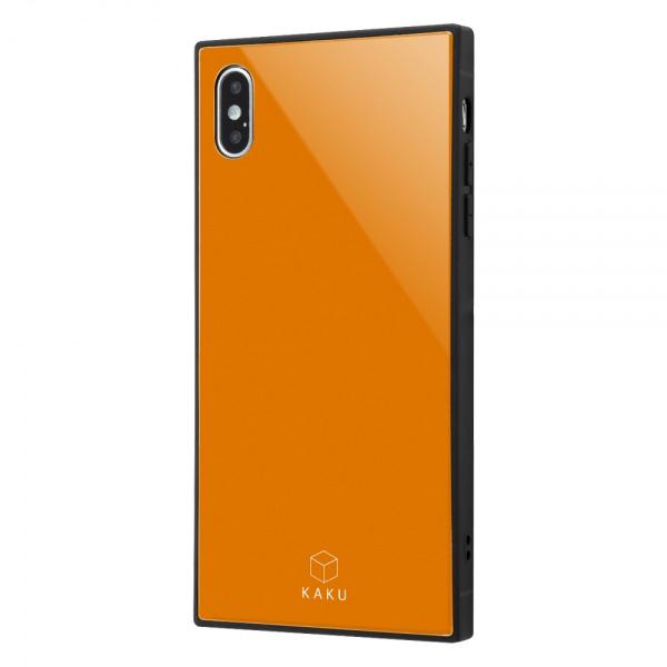 ingrem iPhone XS Max 耐衝撃ガラスケース KAKU オレンジ