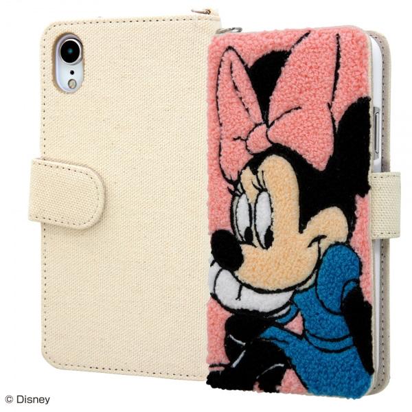 ingrem iPhone XR ディズニー サガラ刺繍 帆布 手帳型ケース ミニー