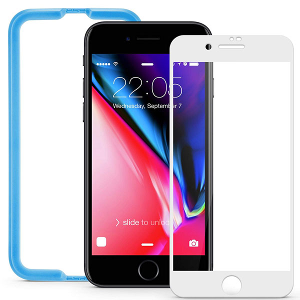ESR iPhone 8 Plus / 7 Plus 9H Fullcover Glass Film ガイドフレーム付き 光沢 指紋防止 ホワイト