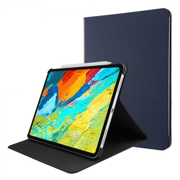 ingrem 11インチ iPad Pro PUレザーケース ApplePencil 2充電対応 スタンド機能 ダークネイビー