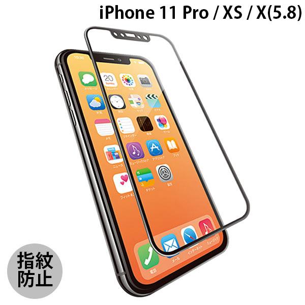 エレコム iPhone 11 Pro / XS / X フルカバーガラス セラミックコート フレーム付き ブラック