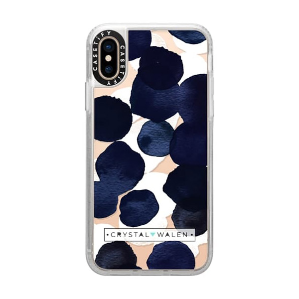 Casetify iPhone XS Grip Case Indigo White Dots Clear