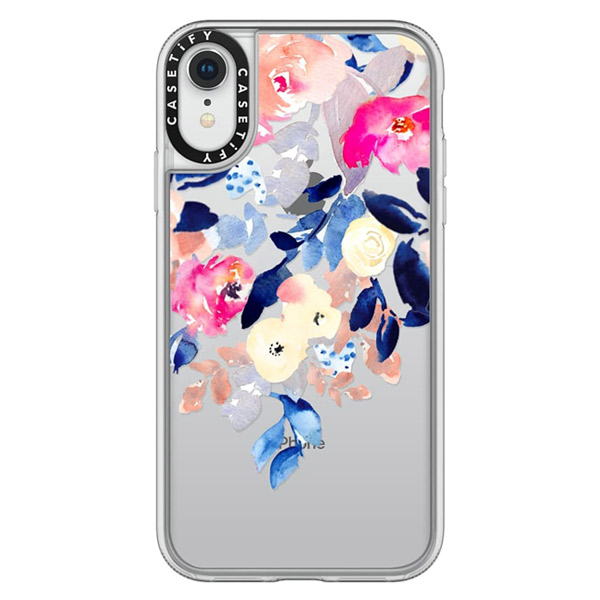 Casetify iPhone XR grip Watercolor Navy and Pink Flowers