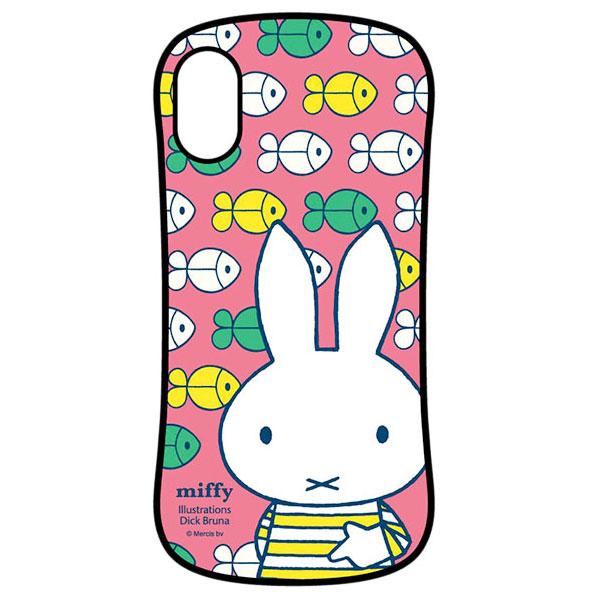 gourmandise iPhone XS / X ハイブリッドガラスケース ミッフィーしましま ピンク