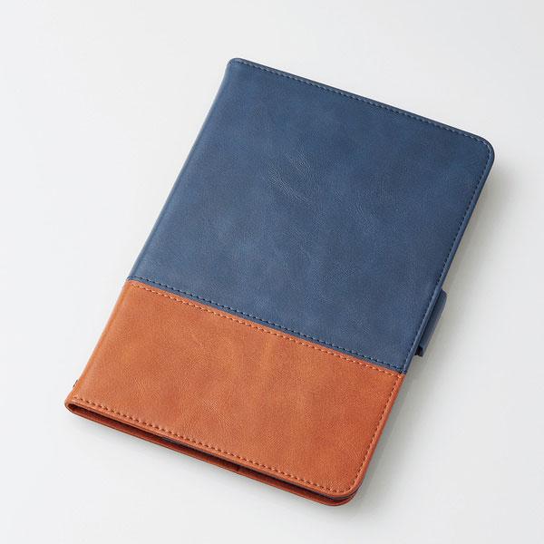 エレコム iPad mini 第5世代 / 4 ソフトレザーカバー フリーアングル ツートン ネイビー×ブラウン