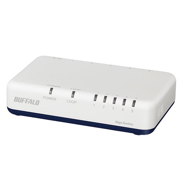 BUFFALO Giga対応 スイッチングHub プラスチック筐体/電源外付けモデル マグネット付 5ポート ホワイト