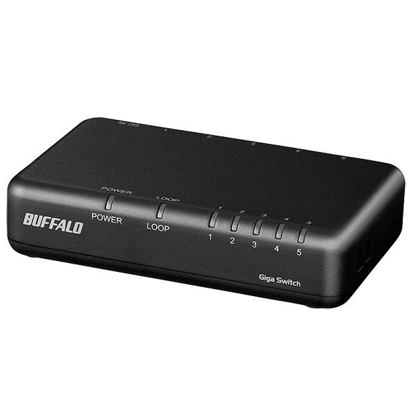 BUFFALO Giga対応 スイッチングHub プラスチック筐体/電源外付けモデル 5ポート ブラック