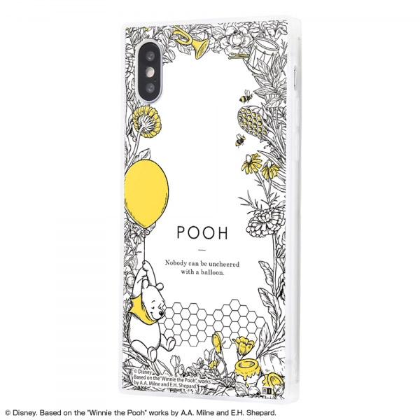 ingrem iPhone XS / X ディズニーキャラクター 耐衝撃ガラスケース KAKU くまのプーさん ボタニカル_01