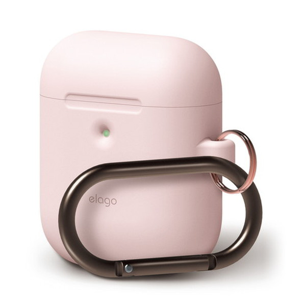 elago AirPods 第2世代 with Wireless Charging Case HANG CASE カラビナ付き シリコンケース (Lovely Pink)