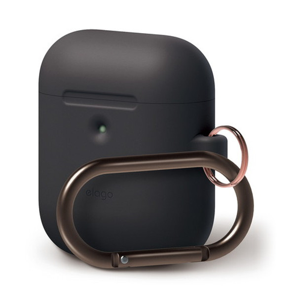 elago AirPods 第2世代 with Wireless Charging Case HANG CASE カラビナ付き シリコンケース (Black)