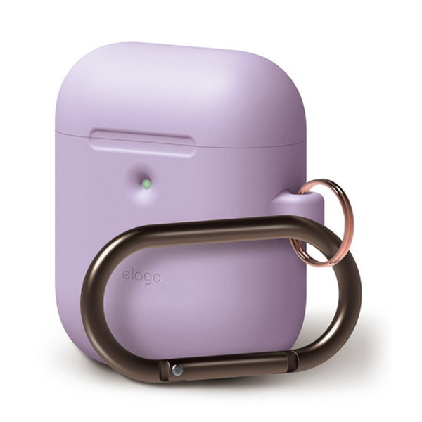 elago AirPods 第2世代 with Wireless Charging Case HANG CASE カラビナ付き シリコンケース (Lavender)