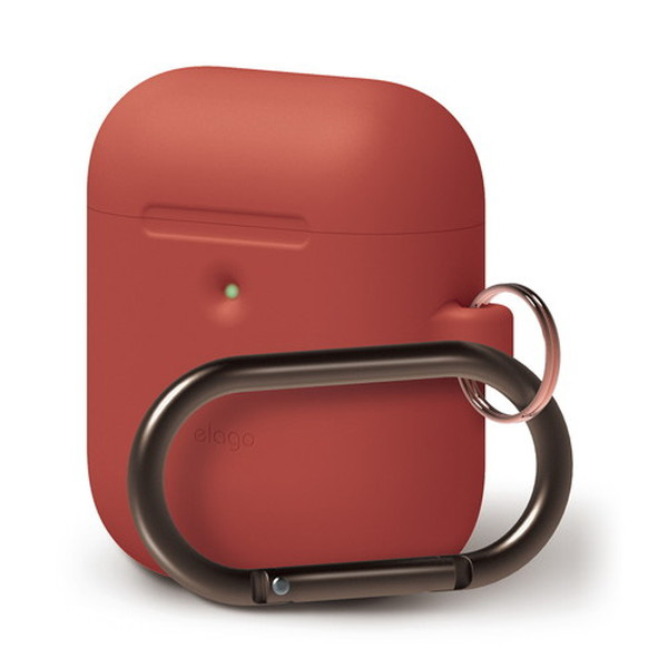 elago AirPods 第2世代 with Wireless Charging Case HANG CASE カラビナ付き シリコンケース (Red)