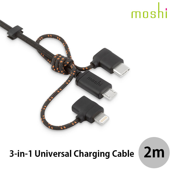 moshi 3-in-1 Universal Charging Cable Lightning microUSB USB-C コネクタ付きケーブル 1m Metro Black