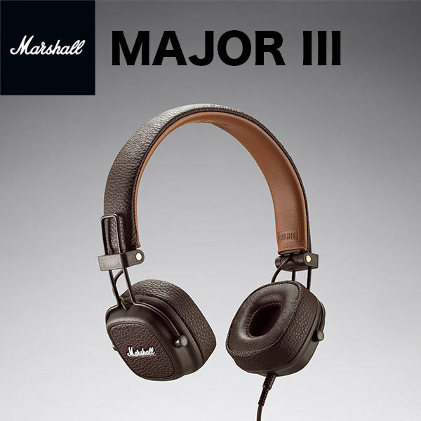 【国内正規品】 Marshall Headphones MAJOR III ヘッドフォン with MIC & REMOTE Brown