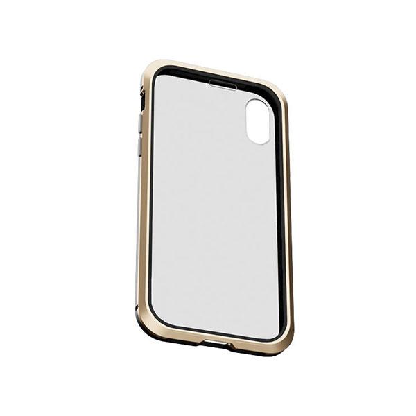 AREA iPhone XR 360 STRONG アルミバンパー & 両面ガラス フルカバーケース ブラックゴールド