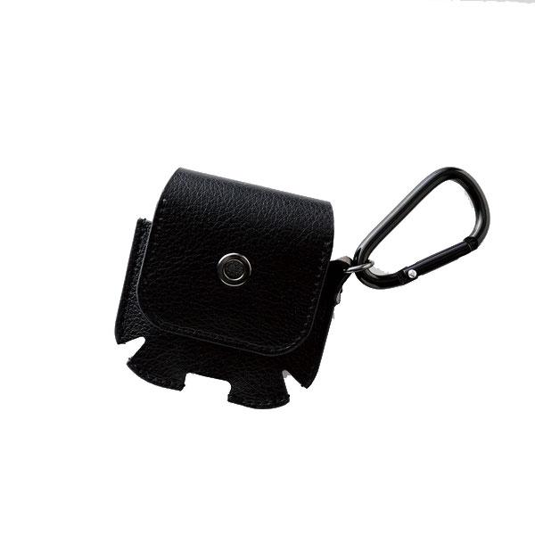 エレコム AirPods ソフトレザーケース 内ポケット カラビナ付き ブラック