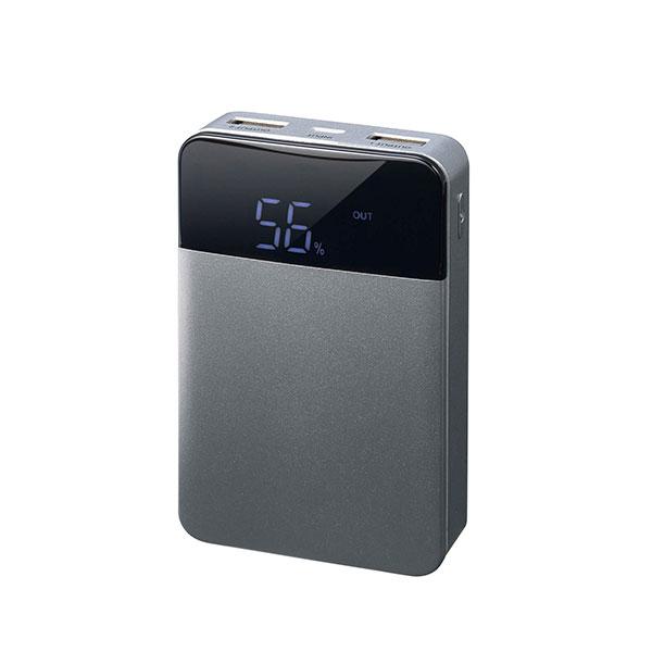 GreenHouse モバイルバッテリー 残量表示付き 2ポート 10000mAh シルバー