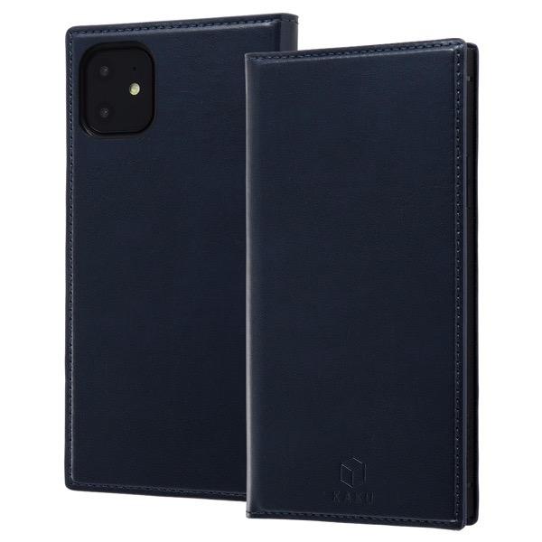 ingrem iPhone 11 手帳型 耐衝撃レザーケース KAKU リング付360 ピタッとカバー ダークネイビー