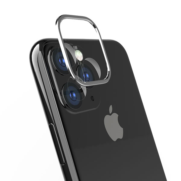 Simplism iPhone 11 Pro Max [Lens Bumper Plus] カメラレンズ保護アルミフレーム&ガラスコーティングフィルムセット シルバー