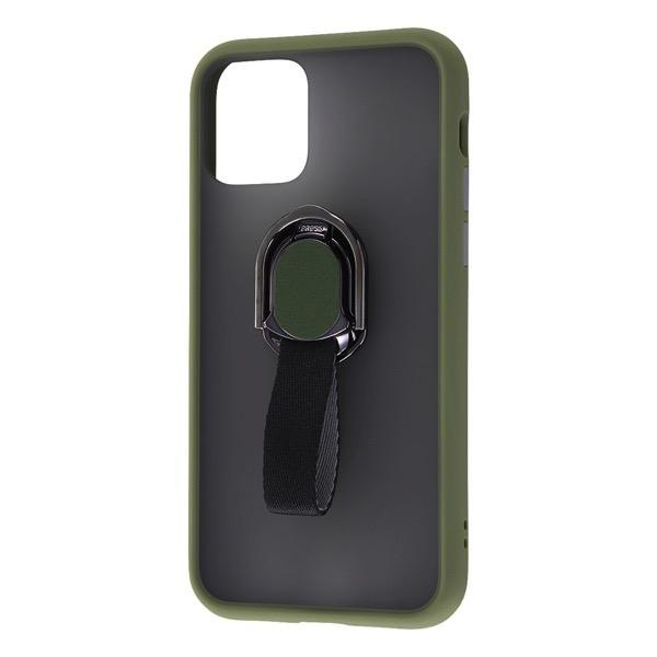 Ray Out iPhone 11 Pro 耐衝撃マットハイブリッドケース リング付き BABY SKIN カーキ
