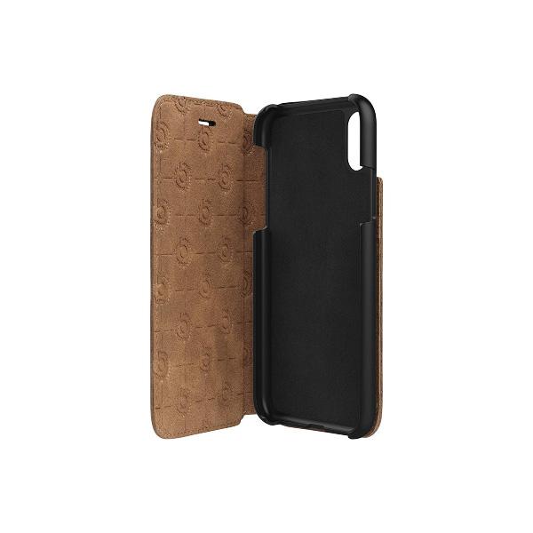 bugatti iPhone XS / X Booklet Case Parigi 本革 フルグレインレザー製 手帳型ケース cognac