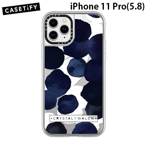 Casetify iPhone 11 Pro grip case Indigo White Dots Clear